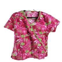 Dickies XS Flamingos Frogs Sunbursts Pink Scrub Top - $14.84