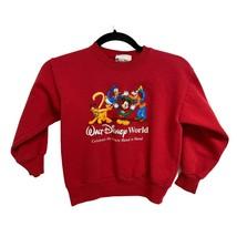 Vintage Disneyland Walt Disney World Crewneck Mickey Sweater Red Kids Small - $15.74