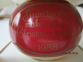 "Hallmark ""Grandmother"" Ball Ornament Dated 1988 - E-10 - $4.95"