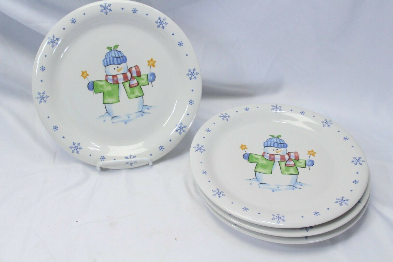 Enchanted Forest Xmas Snowman Snowflake Dinner and Salad Plates Lot of 8 image 6