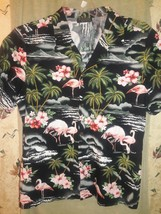 Puanani Hawaiian Shirt Mens size M Pink Flamingos  Palms made in Hawaii - $17.33