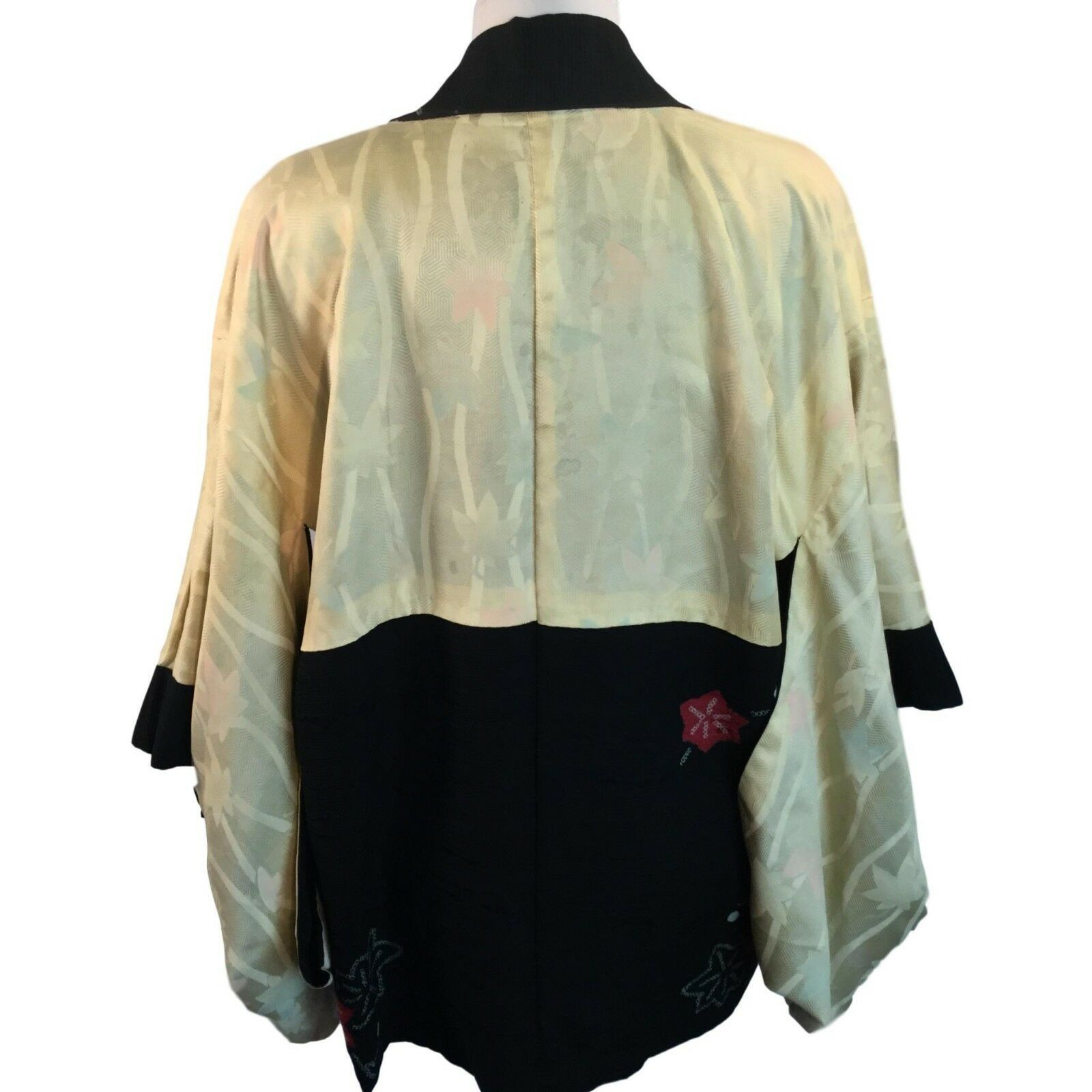 Vtg Kimono Sleeve Jacket Black with Red Flower Textured Rayon Lined One Size