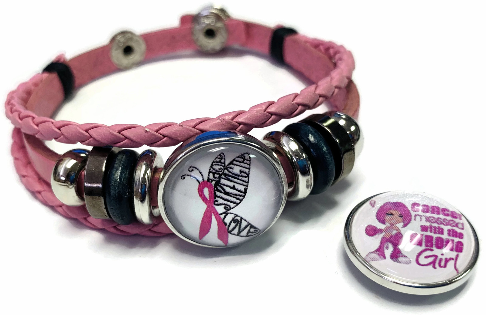 Breast Cancer Wrong Girl Butterfly Pink Leather Bracelet W/2 Snap Jewelry Charms