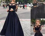 Long black lace long sleeve elegant custom party evening prom dresses pd0045 thumb155 crop