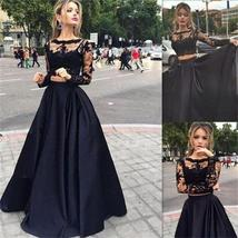 Long Black Chiffon White Lace Deep V Neck Open Back Evening Prom Dress ,PD0266 - $149.00