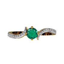 18k Yellow Gold Diamond SI Clarity G Color Emerald Promise Designer Ring - $465.63