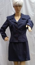 All That Jazz Womens Size 9/10 T Suit Blazer Skirt Career Blue Pinstripe... - $32.73