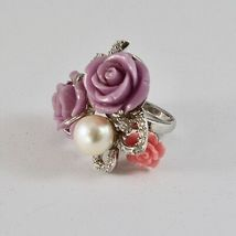 925 Silver Ring Rhodium with Zircon Cubic Roses of Resin and Pearl White image 5