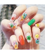 Nail Decals Dried Flowers Nail Art Stickers Accessories 48 Pcs Colorful ... - $15.83