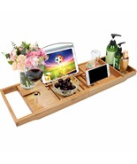 Bamboo Bathtub Caddy Tray Bathroom Organizer with Expandable Sides Holde... - $87.99