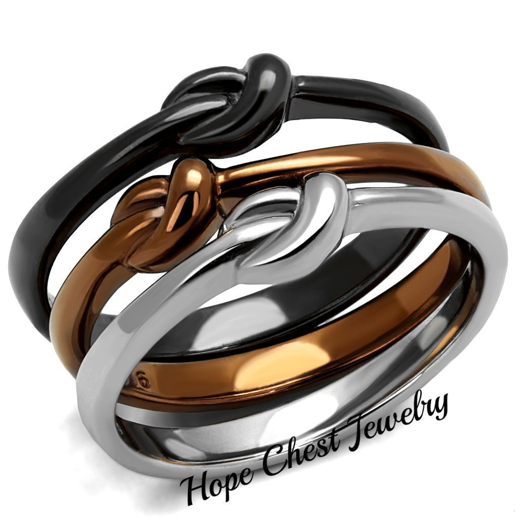 3 TONE BROWN, SILVER & BLACK STAINLESS STEEL 3 INFINITY RING SET SIZE 10