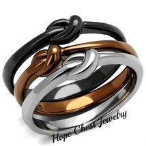 3 Tone Brown, Silver & Black Stainless Steel 3 Infinity Ring Set Size 10 - $20.24