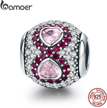 BAMOER Genuine 925 Sterling Silver Heart Clear CZ and Pink Crystal Charm... - $26.36