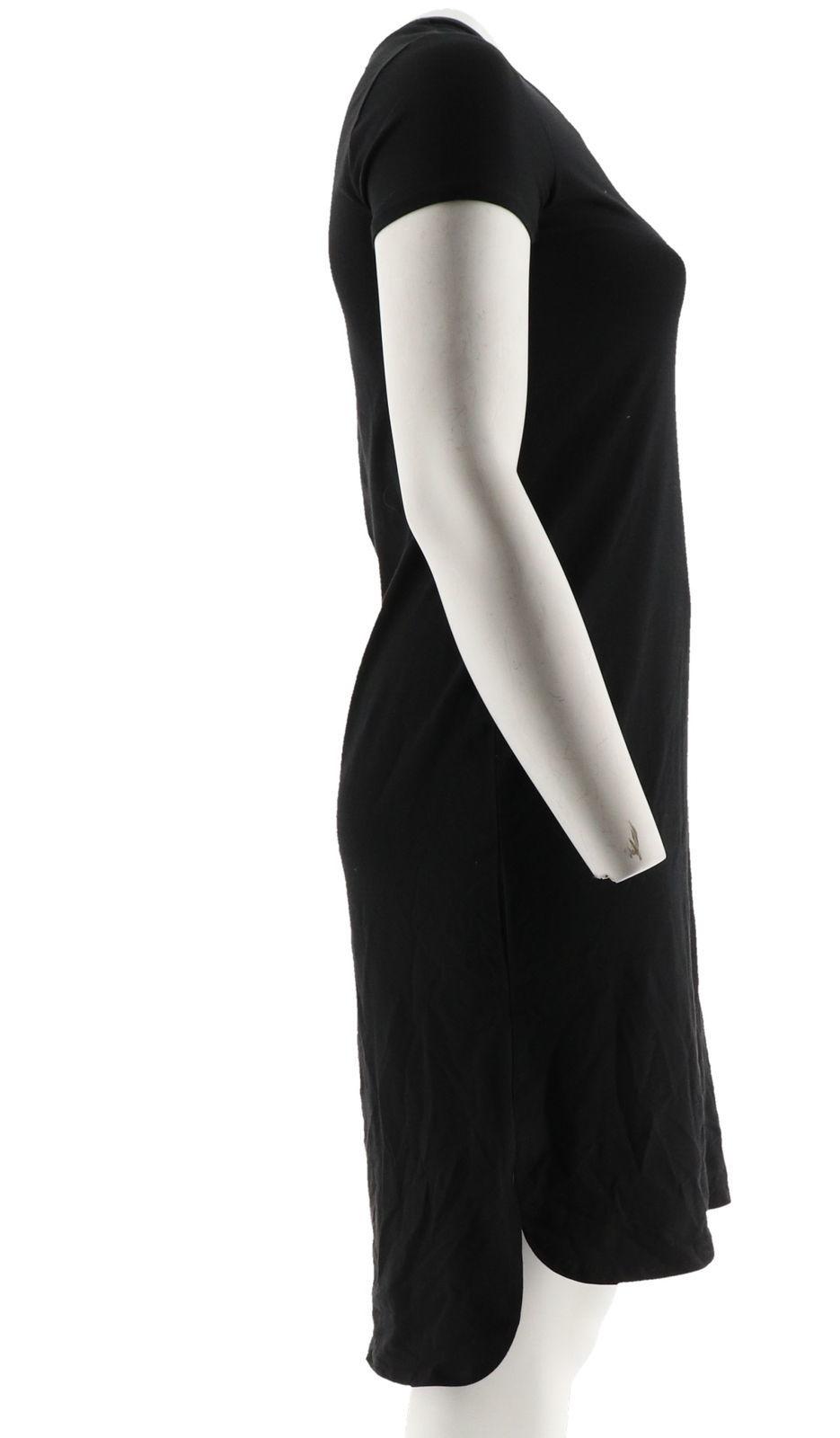 H Halston Essentials Knit Midi Dress Shirttail Hem Black XS NEW A290894 image 4