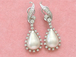 ESTATE 1.5ctw DIAMOND 19mm MABE PEARL PEAR DROP WHITE 18K COCKTAIL CLIP ... - $3,107.61
