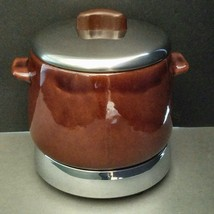 Vintage West Bend Heat Rite Classic Bean Pot Brown Stainless Lid Heated - $49.45
