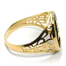 18K YELLOW GOLD BAND MAN RING, SAILING CLIPPER SHIP, FINELY WORKED, BLACK ENAMEL image 4