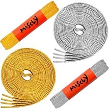 Flat Metallic Laces [2 Pairs: 1 Pair Gold + 1 Pair Silver] 5/16 Wide - B... - $20.37