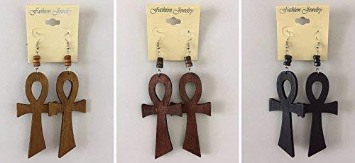 Primary image for New Ethnic Earrings Wooden Ankh Earrings Light Brown
