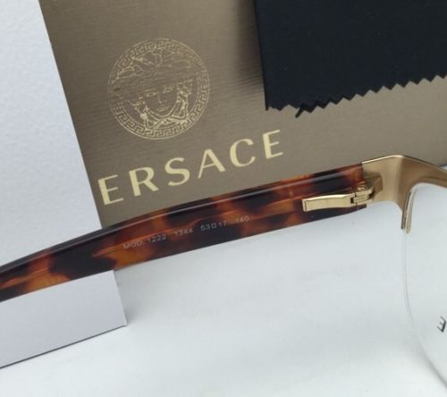 167dec6ed4 New VERSACE Eyeglasses 1222 1344 53-17 Gold Brown   Tortoise Semi-Rimless  Frames