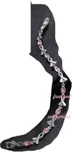 Breast Cancer Pink Hope Tennis Bracelet with Ribbon Accents ~Pink & Silvertone~ image 2