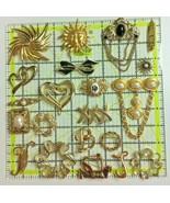 Lot of 21 Gold Tone Brooches Sun Faux Pearl Black Stone Filagree - $29.69