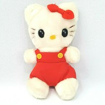 Child Guidance Sanrio Hello Kitty Plush Red Overalls Vintage 1983 CBS Bean Bag - $27.84