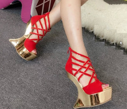 82s029 Cute crossed strap wedge sandals, nubuck leather, US Size 4-8.5, red - $62.80