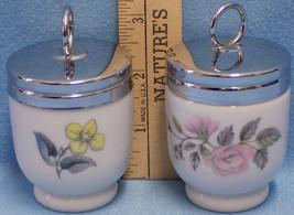 Vintage Lot of 2 Royal Worcester Porcelain Egg Coddlers Flower Design Me... - $19.79