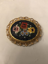 Antique Micro Mosaic Pin   Flowers Italy/missing Pin Needle Locker - $6.93