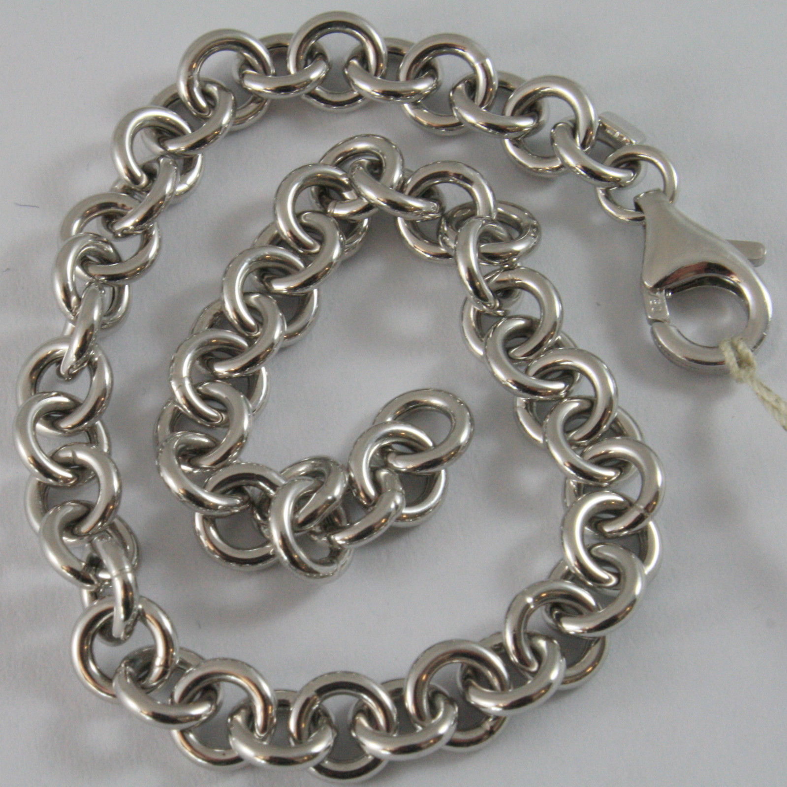 SOLID 18K WHITE GOLD BRACELET WITH ROLO ROUND LINK, MADE IN ITALY