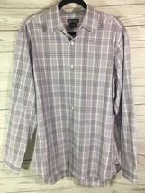 Michael Kors Mens Button Down Dress Shirt Size Large Purple White Plaid - €12,03 EUR
