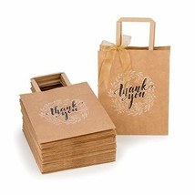Kraft Paper Bags Bulk with Handles and Printed Thank-You Design for Gift NO BOWS image 1