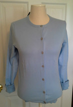 Lands End  Women's LS Supima Crew Cardigan Sweater Fresh Sky New - $29.99