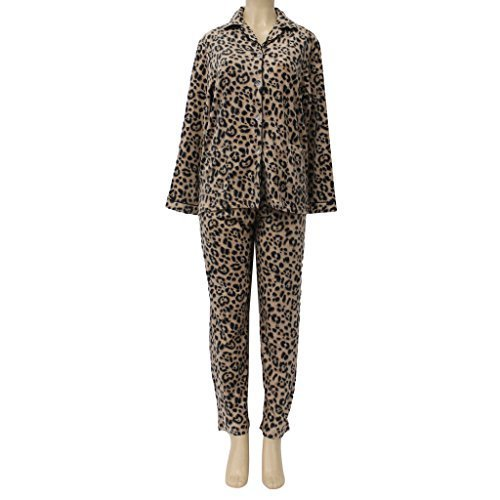 Women's Plush Pajama Set, Brown Leo, Medium