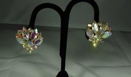 Vintage Pink Aurora Borealis Clip On Earrings - $10.88