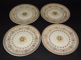 4 Cunningham & Pickett Homer Laughlin Yellow Rose Saucers Floral and Gold  - $29.69