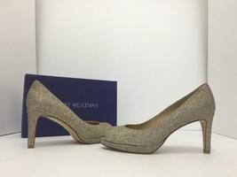 Stuart Weitzman Annamimic Women's Evening Peep Toe High Heels Pumps Gold Noir 7 - $97.75