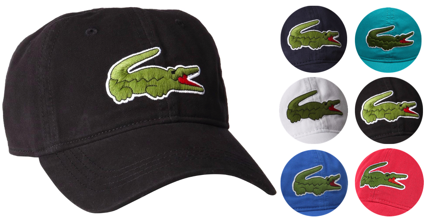 Lacoste Men's Classic Gabardine Premium Cotton Big Croc Logo Adjustable Hat Cap