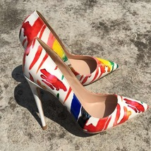 Stiletto arrival heels New 2018 high Sexy Wome Colorful Red Graffiti Keshangjia zSwqHUcaxW