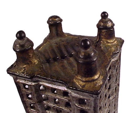Antique Toy Cast Iron Sky Scraper Coin Bank Piggy Money
