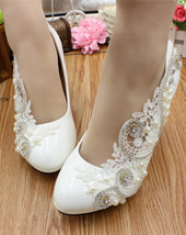 Women Ivory White Lace up Wedding Heels Shoes,Bridal Low Heels US 4,5,6,... - $38.00