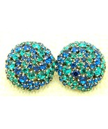 VTG RARE CROWN TRIFARI Silver Tone Blue Green Rhinestone Dome Clip Earrings - $148.50