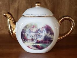 Vintage White and Gold 4 Cup Teapot w/Thomas Kinkade Artwork - $18.95