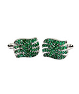 925 Sterling Silver Natural Fine Quality Emerald Gemstone Artistic Desig... - $162.99