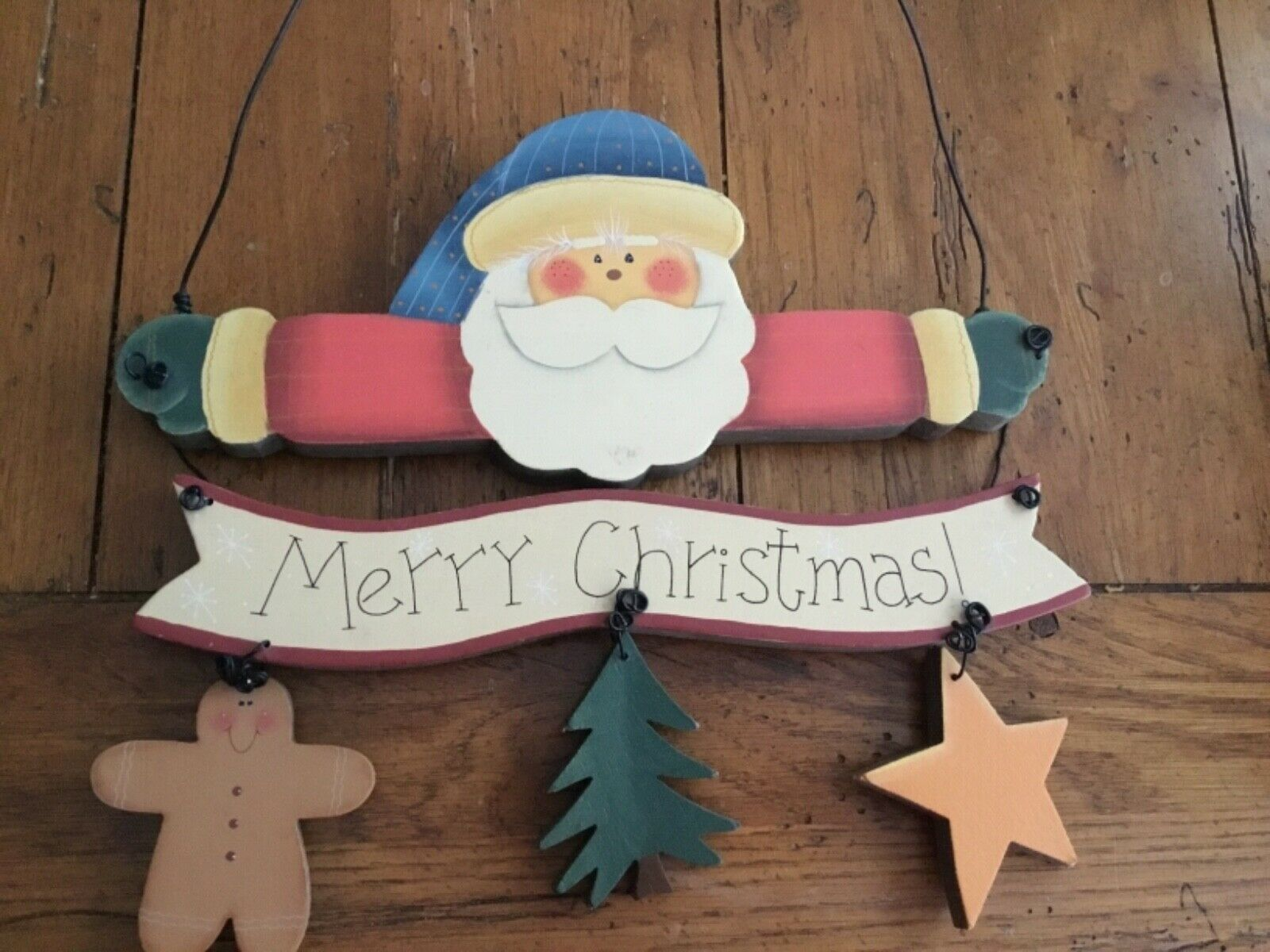 Primary image for Christmas Santa Sign Hand Painted On Wood