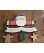 Christmas Santa Sign Hand Painted On Wood - $12.69