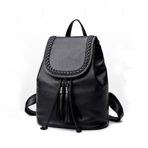 Women's Fashion Bag Backpack Knit Tassels Weave PU Black Flip Schoolbag ... - $19.62