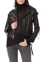 New Perfect Stylish Women's Designer Genuine Hot Lambskin Leather biker ... - $169.00