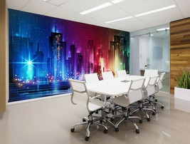 3D City Neon Ground T43 Business Wallpaper Wall Mural Self-adhesive Comm... - $13.67+